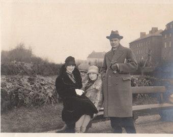 Original Vintage Photograph Snapshost Men Women Park Bench 1920s-30s