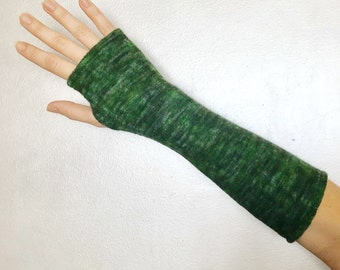 Long Fingerless Gloves. Sleek and Stretchy. One Size Fits All.