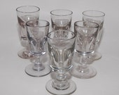 Antique Deceptive Toasting Drinking Glasses, Antique Shot Glasses, Stemmed Shot Glasses, Set of 6
