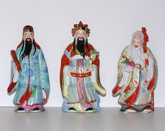 Vintage Chinoiserie Porcelain The Three Wise Men Statues