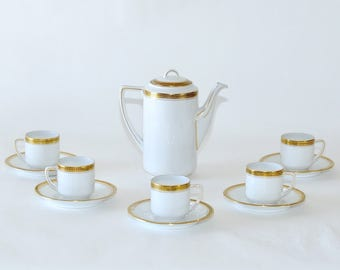 Art Deco Bohemian Epiag Czechoslovakia Fine China Espresso Coffee Set for 5
