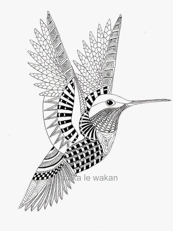 Hummingbird Coloring Page - Adult Coloring Page, Downloadable Bird, Bird  for Coloring, Adult Coloring Doodle; Printable Adult Coloring