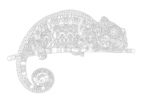 Adult Coloring Page - Chameleon Coloring Print, Downloadable Reptile for  Coloring, Printable Coloring Doodle