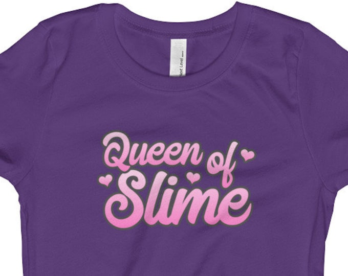 Queen of Slime T-shirt, Girl's Tee, Hearts, Kids