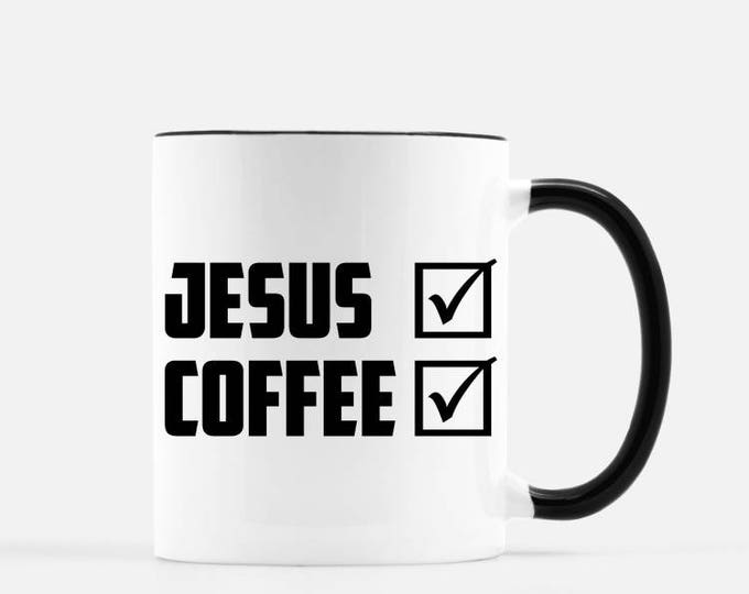 Jesus Check, Coffee Check Ceramic Mug, with black handle and rim, 11 oz