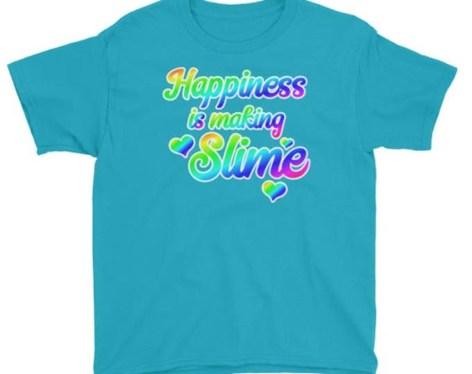 Happiness is Making Slime T-shirt in Rainbow colors