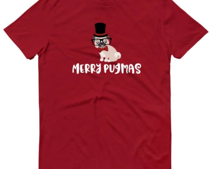 Merry Pugmas T-Shirt, available in three colors - Pug Christmas T-shirt