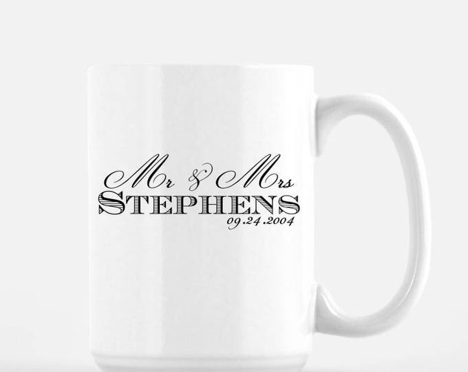 Mr and Mrs Custom Last Name White Ceramic Mug, 15 oz
