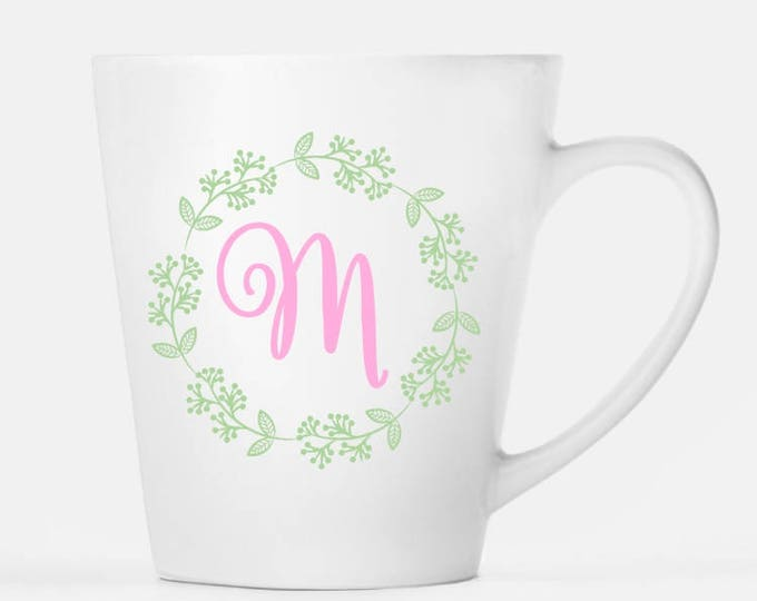 Monogram Mug, Monogram and Wreath Ceramic Latte Mug, 12 oz