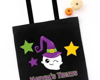 Halloween Trick or Treat Tote Bag, Cute Ghost Witch, CUSTOM NAME on Tote, Candy Treat Bag