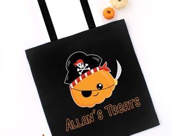 Halloween Trick or Treat Tote Bag, Pumpkin Pirate, CUSTOM NAME on Tote, Candy Treat Bag