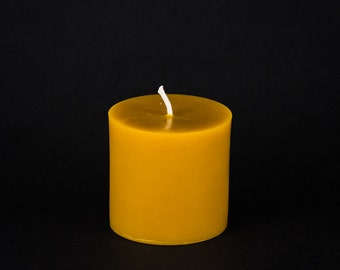 Pure Beeswax Pillar Candle - Smooth Pillar - 3 in. x 3 in. tall