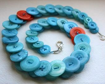 Aquamarine with Orange button necklace Button Jewellery Button Jewelry UK Handmade