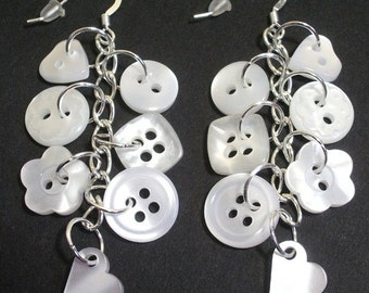 Pearlescent button sterling silver drop/dangle earrings Jewellery British Handmade Bridal Wedding Made In Britain Free UK Shipping