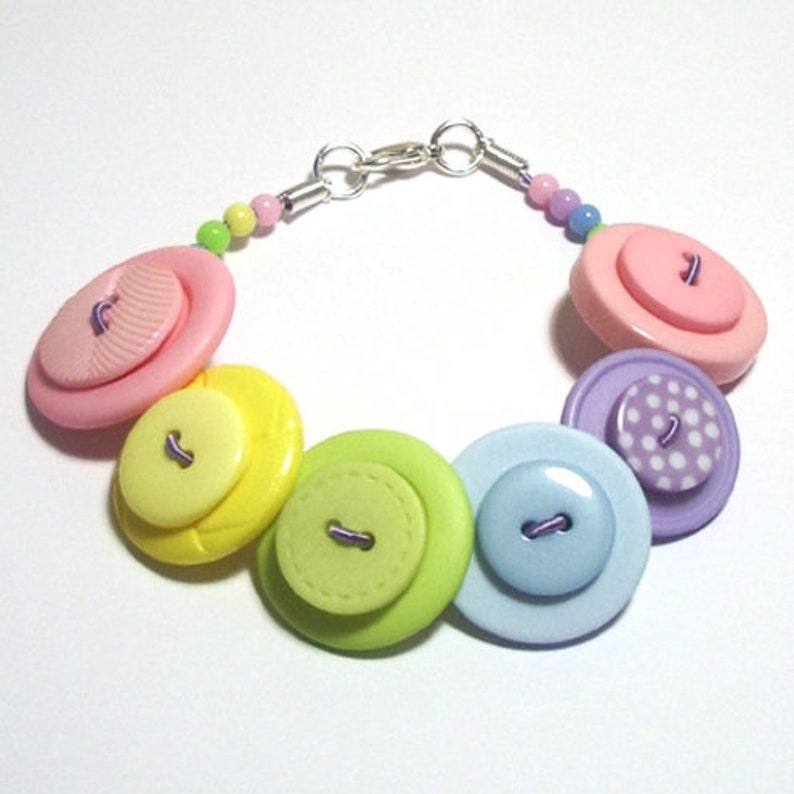 Summer Pastels Green Pink Lilac Yellow Blue button bracelet image 0