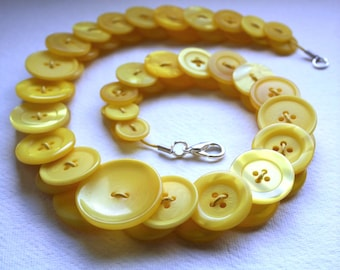 Canary Yellow Button Necklace Jewellery British Handmade Free UK Shipping Made In Britain