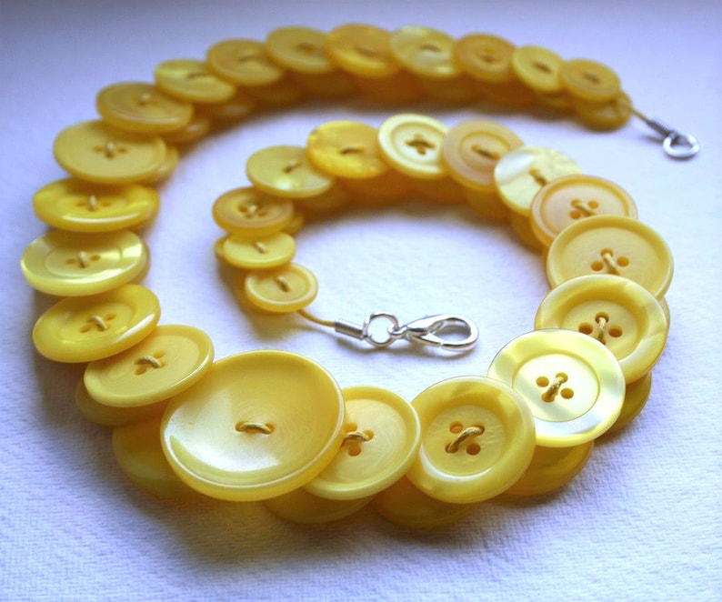 Canary Yellow Button Necklace Button Jewellery Button Jewelry image 0