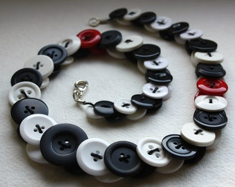 Black, White and Red Button Necklace Jewellery British Handmade Free UK Shipping Made In Britain