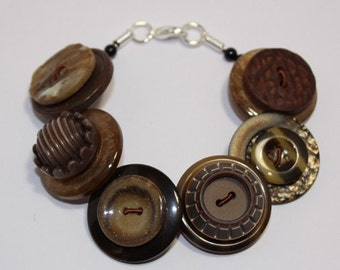 Chocolate Brown and Caramel Button Bracelet Jewellery British Handmade Made In Britain Free UK Shipping