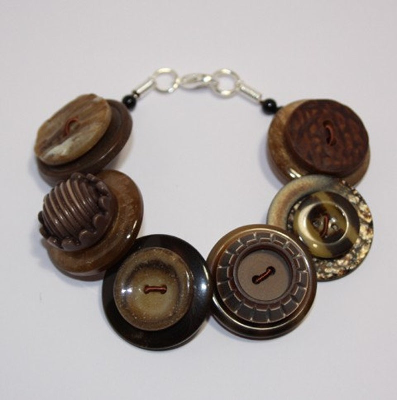 Chocolate Brown and Caramel button bracelet Button Jewellery image 0