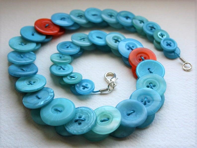 Aquamarine with Orange button necklace Button Jewellery Button image 0