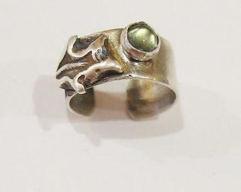 Labradorite Oak leaf  EarGem ear cuff, gemstone ear cuff, sterling earring, cuff earring, oak earcuff