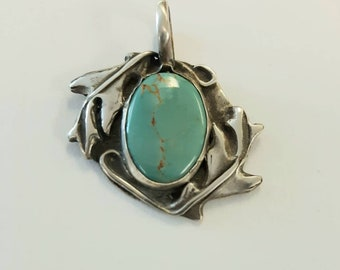 One of a kind, Turquoise Oak pendant, matrix turquoise, oak leaves, autumn oak jewelry