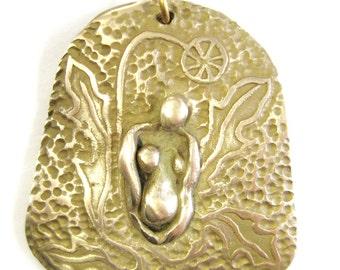 Dandelion Goddess sculptural pendant in Bronze medicinal wild flowering plants goddess jewelry
