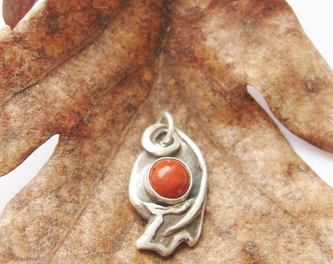 Featured listing image: Oak Leaf, autumn color, leaf pendant, oak pendant, red jasper, red oak leaf, sterling silver jewelry, mens jewelry