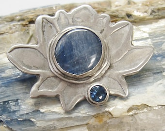 Lotus blossom pendant with Kyanite and sapphire in sterling silver, symbolic kyanite jewelry, sapphire blue pendant