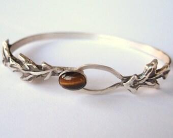 Walk in the Woods Oak Leaf Clasping Bracelet , oak leaf jewelry, cuff bracelet, sterling and tiger eye cuff bracelet