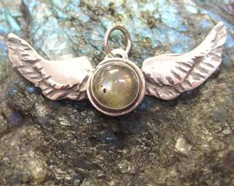 Labradorite Wings pendant, angel wings, angel wing pendant, sterling silver gemstone jewelry with spectolite wings, bird & aviation wings