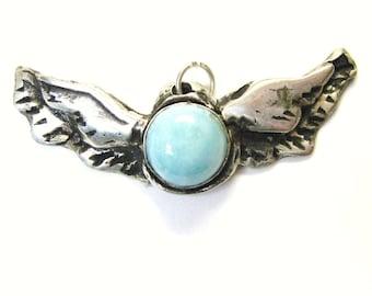 Larimar Wings pendant, angel wings, angel wing pendant, sterling silver gemstone jewelry with larimar wings, bird & aviation wings