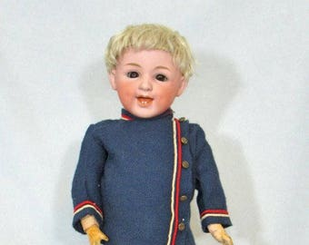 """17"""" Heubach 5636 Laughing Character, Antique German Bisque Doll"""