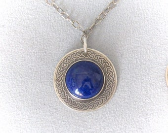 Etched pendant etsy handcrafted etched pendant lapis lazuli sterling silver 1 aloadofball Images