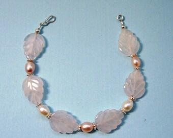 Bracelet,Natural Rose Quartz Leaves, Pearls, Sterling Silver