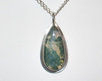 Moss Agate and Sterling Silver Pendant, Handcrafted