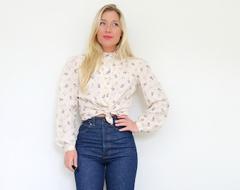 1970s Autumn Floral Blouse // Size Extra Small to Small