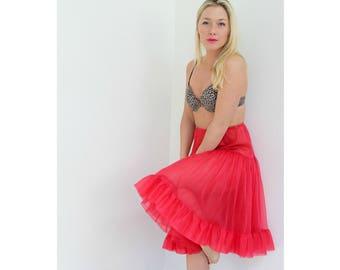 1950s Lipstick Red Petticoat // Size Extra Small