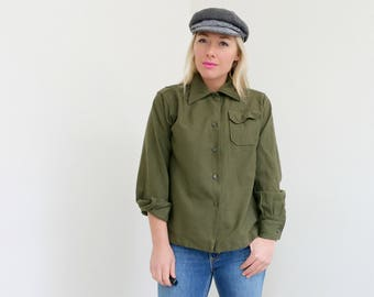 1960s Military Shirt // Size Extra Small to Small