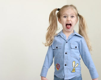 1970s Animal Patch Shirt // Size 2t to 3t