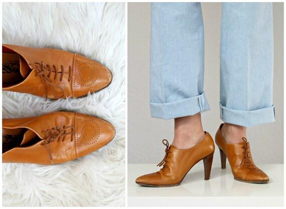 1980's Salvatore Ferragamo Cognac Ankle Booties //
