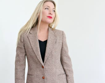 1980s Hunting Horn Wool Blazer /// Size Small to Medium