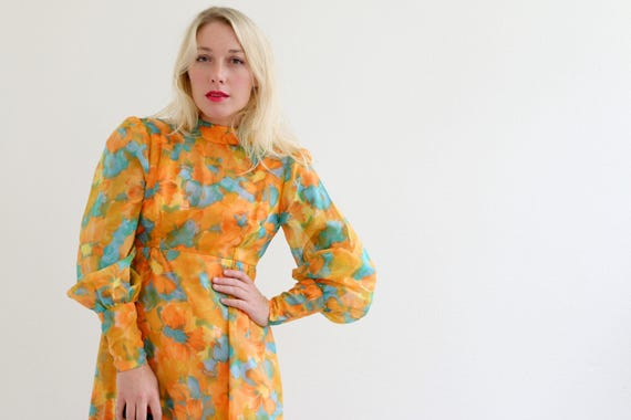 1970s Dreamy Mandarin  Dress // Size Extra Small