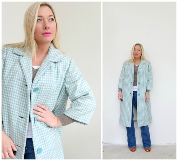 1950s Spring Houndstooth Coat // Size Extra Small