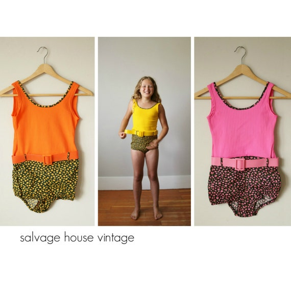 NOS 1960s Floral Belted Swimsuits >>> Size 8/10 or
