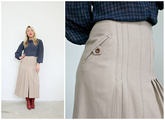 1970s Prue Acton Wool Skirt /// Size Extra Small