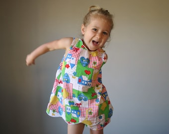 1960s Patchwork Print Dress with Bloomers, size 2t/3t
