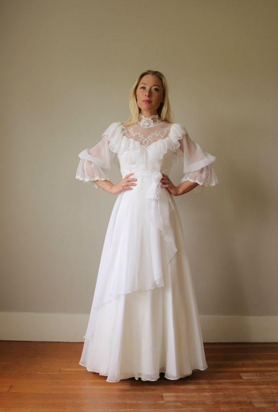 Extra to Small Small 1970s Dress gt; Country gt; Size Wedding White 40p4zS