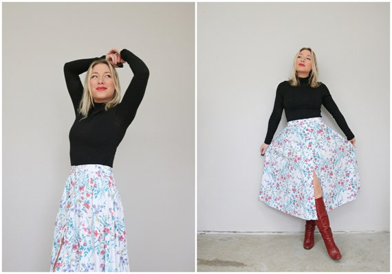 1990's Botanical Button Front Skirt /// Size Mediu